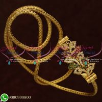 Gold Plated Jewellery Mugappu Chain Thali Kodi Ruby Emerald Stones