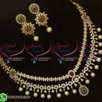 Gold Plated Stone Necklace Double Layer Fashion Jewellery Designs Online