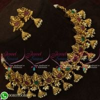 Imitation Temple Jewellery Jhumka Necklace Antique Gold Plated Shop Online