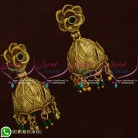 Indian Jhumka Earings Online Shopping Antique Jewellery Green Stones