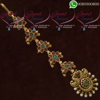 Maangtikka Antique Gold Plated Jewellery Ruby Emerald AD Stones