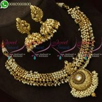 Pearl Necklace Jhumka Earrings Antique Gold Plated Latest Jewellery Online