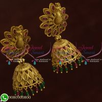 South Indian Bridal Jhumkas Online Shopping Peacock 3D Design