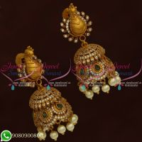 South Indian Jhumkas Online Shopping Peacock Double Layer 3D Design