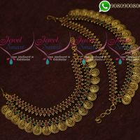 Temple Jewellery EarChain Kanchain Coin Kemp Stones Traditional