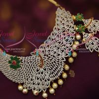 gold-silver-two-tone-plated-broad-cz-diamond-finish-jewellery-necklace-ruby-emerald