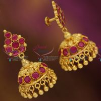 gold-plated-south-indian-jewellery-screwback-ruby-emerald-jhumka-earrings-online