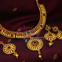 Temple_Kempu_Stones_Indian_Traditional_Gold_Plated_Necklace_Earrings_Tikka