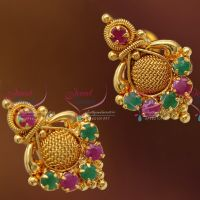 Gold_Plated_Temple_Kempu_Stones_Jhumka_Earrings_Handmade