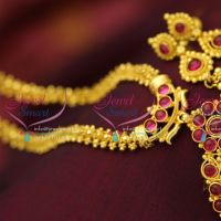 Temple_Jewellery_Kempu_Necklace_Jhumka_Earrings_Gold_Plated_Antique_Finish