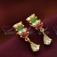 Kempu_Temple_Stones_Kemp_Necklace_Jhumka_Earrings_Gold_Plated_Antique_Finish