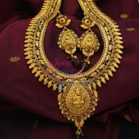 Temple_Jewelry_Indian_Traditional_Long_Necklace_Haaram_Antique_Gold_Plated_Laxmi_God_Pendant_Online_Shopping