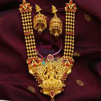 Temple_Jewellery_Beads_Mala_Laxmi_Pendant_Jhumka_Earrings_Online_Shopping