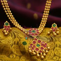 temple-kempu-3-strand-beads-gold-plated-attigai-screw-back-earrings-exclusive