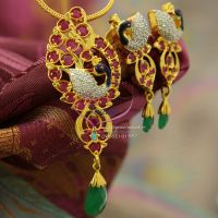 cubic-zircon-meena-color-work-peacock-design-ruby-stones-exclusive-pendant-sets