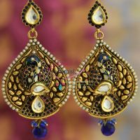 peacock-antique-long-antique-earrings-meena-color-work-party-wear-fashion-jewelry-online