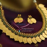 temple-coin-necklace-gold-plated-green-stones-indian-traditional-jewellery-necklace