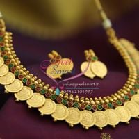 temple-coin-necklace-gold-plated-maroon-green-stones-indian-traditional-jewellery-necklace