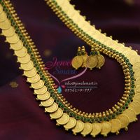 temple-coin-necklace-haram-gold-plated-green-indian-traditional-jewellery