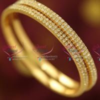 white-stones-gold-plated-bangles-two-lines-fancy-design-buy-online-imitation-jewellery