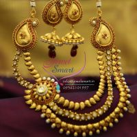 multi-strand-mango-necklace-side-kundan-pendant-antique-plated-fashion-jewelry-online