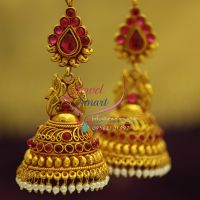 broad-grand-temple-kempu-ruby-emerald-beads-hangings-dulhan-jhumka-buy-online