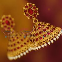 temple-kempu-design-pearl-traditional-south-indian-jhumka-earrings-online