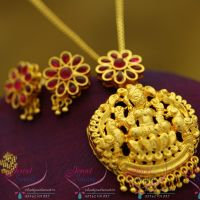 temple-kempu-red-green-pearl-drops-laxmi-gold-design-chain-pendant-earrings