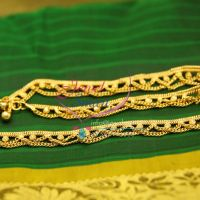 gold-plated-five-metal-imitation-leg-chain-payal-anklets-indian-traditional-ethnic-jewellery