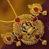antique-gold-plated-nagas-nakshi-chain-pendant-earrings-traditional-jewellery-buy-online