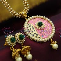 colour-floral-pendant-pearl-chain-light-weight-jhumka-fancy-fashion-matching-necklace