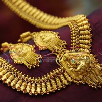 Temple Jewellery Gold Plated Antique Long Necklace Traditional Haaram in Gold Designs