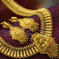 Temple_Jewelry_Laxmi_Pendant_Long_Necklace_Traditional_Haaram_Earrings