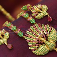 Traditional_South_Indian_Ruby_Emerald_Semi_Precious_Haaram_Long_Necklace_Peacock_Design