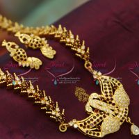 indian-traditional-peacock-design-ruby-american-diamond-gold-plated-haram-long-necklace-online