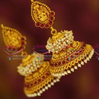 laxmi-god-nakshi-design-red-gold-plated-traditional-south-jewellery-jhumka-earrings-online