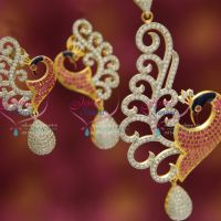 gold-design-imitation-jewelry-color-painting-cz-ruby-peacock-pendant-set-online