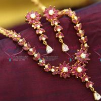 ruby-emerald-pendant-flat-chain-long-haram-gold-design-traditional-jewellery-collections