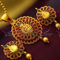 red-gold-plated-kemp-stones-temple-nakshi-laxmi-god-design-pendant-earrings-ball-chain-traditional-jewellery-set