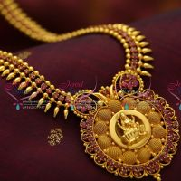 026cdcc1123 NL3781 Beads Design Ruby Temple Pendant Gold Plated Haram Long Necklace  Fashion Jewellery Online