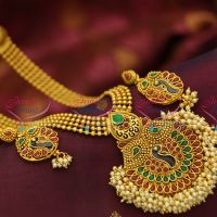 810d3745b7f NL4038 Indian Traditional Haram Pearl Gold Imitation Artificial Jewellery  Peacock Design Long Necklace