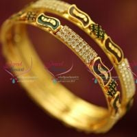 gold-plated-2-pieces-set-broad-bangles-casual-wear-long-colour-life-bangles-spiral-fancy-design