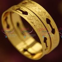 gold-plated-2-pieces-set-bangles-casual-wear-long-colour-life-bangles-spiral-fancy-design