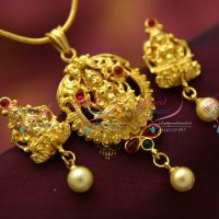 gold-plated-temple-kemp-red-pearl-drops-laxmi-gold-design-pendant-earrings