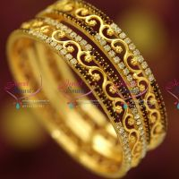 white-maroon-colour-stones-gold-plated-traditional-floral-design-bangles-south-indian-jewellery-online
