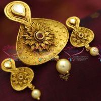 antique-burnt-gold-superb-gold-jewellery-finish-one-gram-delicate-pendant-set-buy-online-fashion-jewellery