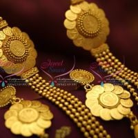 antique-coin-side pendant-gold-design-multi-strand-necklace-fancy-fashion-jewelry-set-online-offer