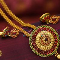 antique-gold-plated-ghajiri-chain-fancy-mala-round-pendant-fashion-jewellery-necklace-buy-online-offer