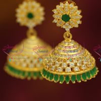 gold-plated-real-look-artificial-jhumka-earrings-immitation-jewellery-fancy-stylish-party-wear
