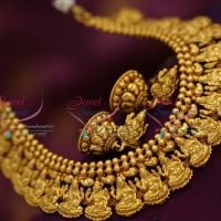 temple-laxmi-god-indian-ethnic-necklace-jhumka-antique-gold-plated-jewellery-online